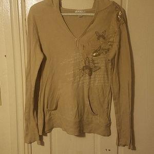 Large Wckd Long Tan Light Shirt w/ Hoodie